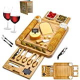 Cheese Board 2 Ceramic Bowls 2 Serving Plates. Magnetic 2 Drawers Bamboo Charcuterie Cutlery Knife Set, 2 Server Forks, Wine