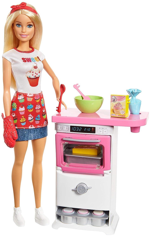 Barbie Métiers Coffret Pâtisserie avec poupée patissière blonde, accessoires, four et cupcakes transformables à l'eau, jouet pour enfant, FHP57 Mattel