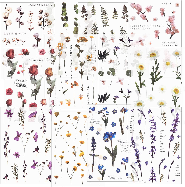 Botanicals Stamp Sticker Flakes 45 Pcs Plants Sticker Leaves Schedule Sticker,Flower Scrapbook Nature Herbs Filofax Stickers Greenery