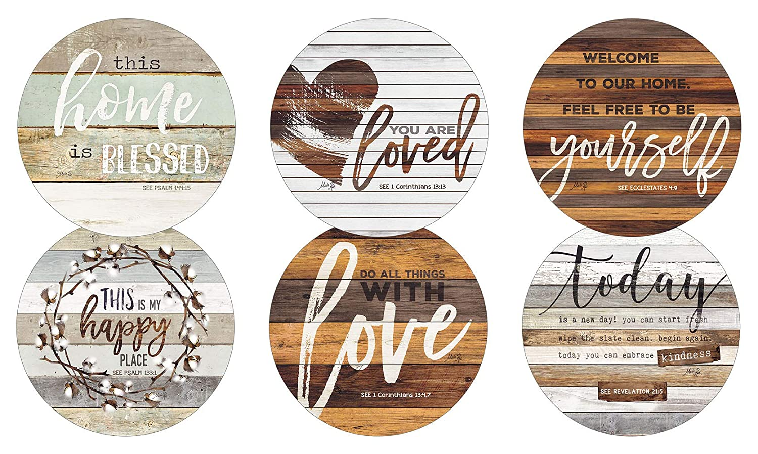 Legacy Publishing Group RCC50534 Marla Rae Round Cork-Backed Coaster Set Set Of 6 This Home Is Blessed   B07ND3NVC8