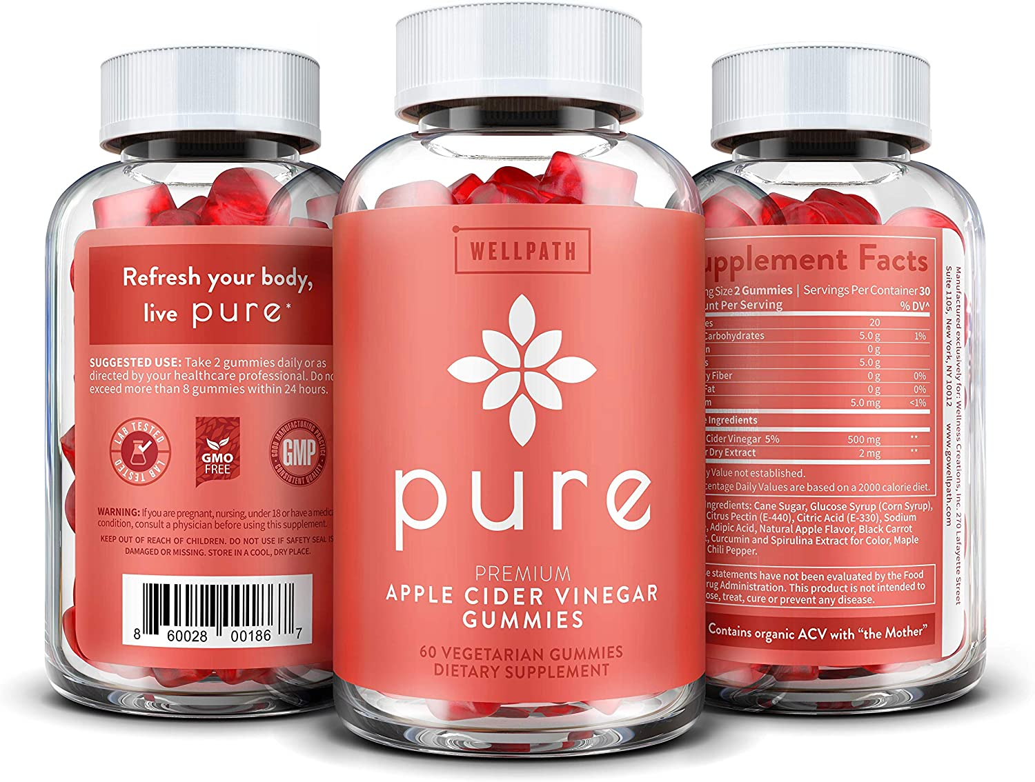 Pure Apple Cider Vinegar Gummies - with Raw, Organic, Unfiltered ACV from the Mother - Gummy Alternative to Apple Cider Vinegar Capsules, Pills, Tablets - Detox, Cleanse Support, Immunity -60 capsules