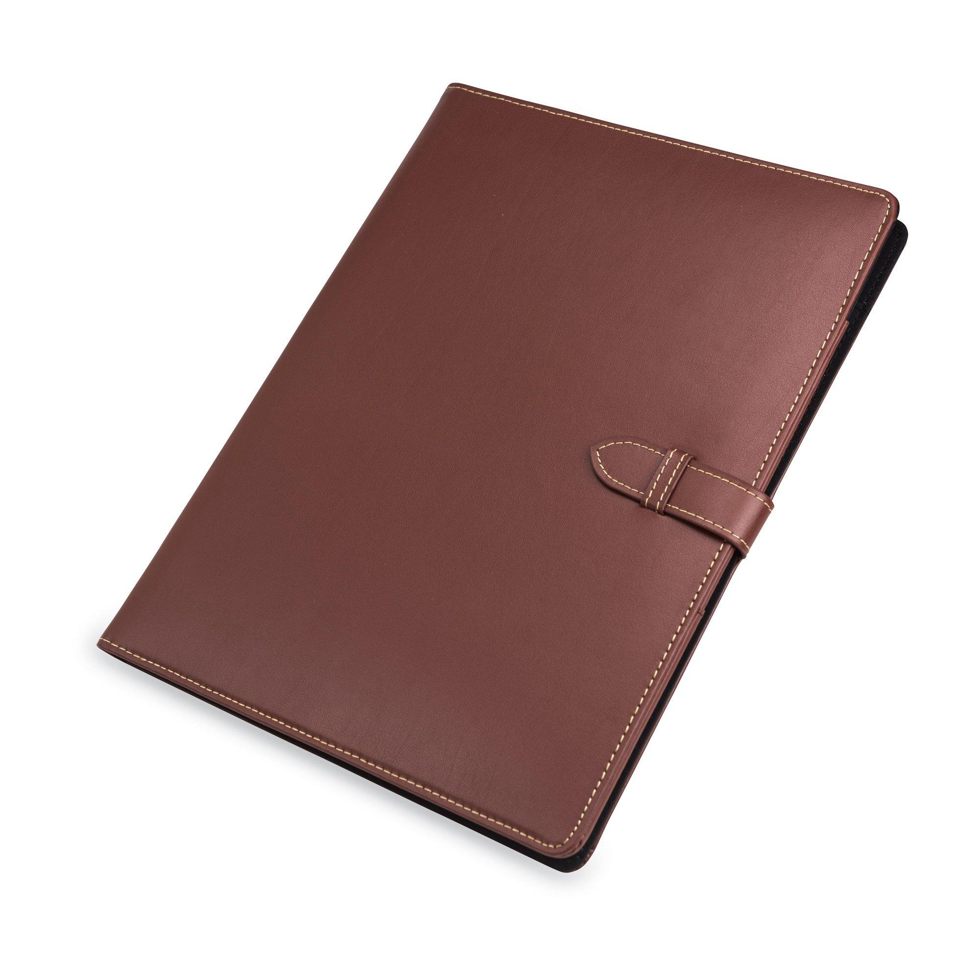 Samsill Contrast Stitch Leather Padfolio with Strape Closure– Portfolio Folder/Business Portfolio for Men & Women – Resume Document Organizer, 8.5 x 11 Writing Pad, Tan