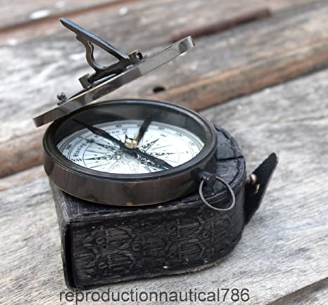 Nautical Brass Sundial Compass Marine Handmade Working Compass Pocket Style