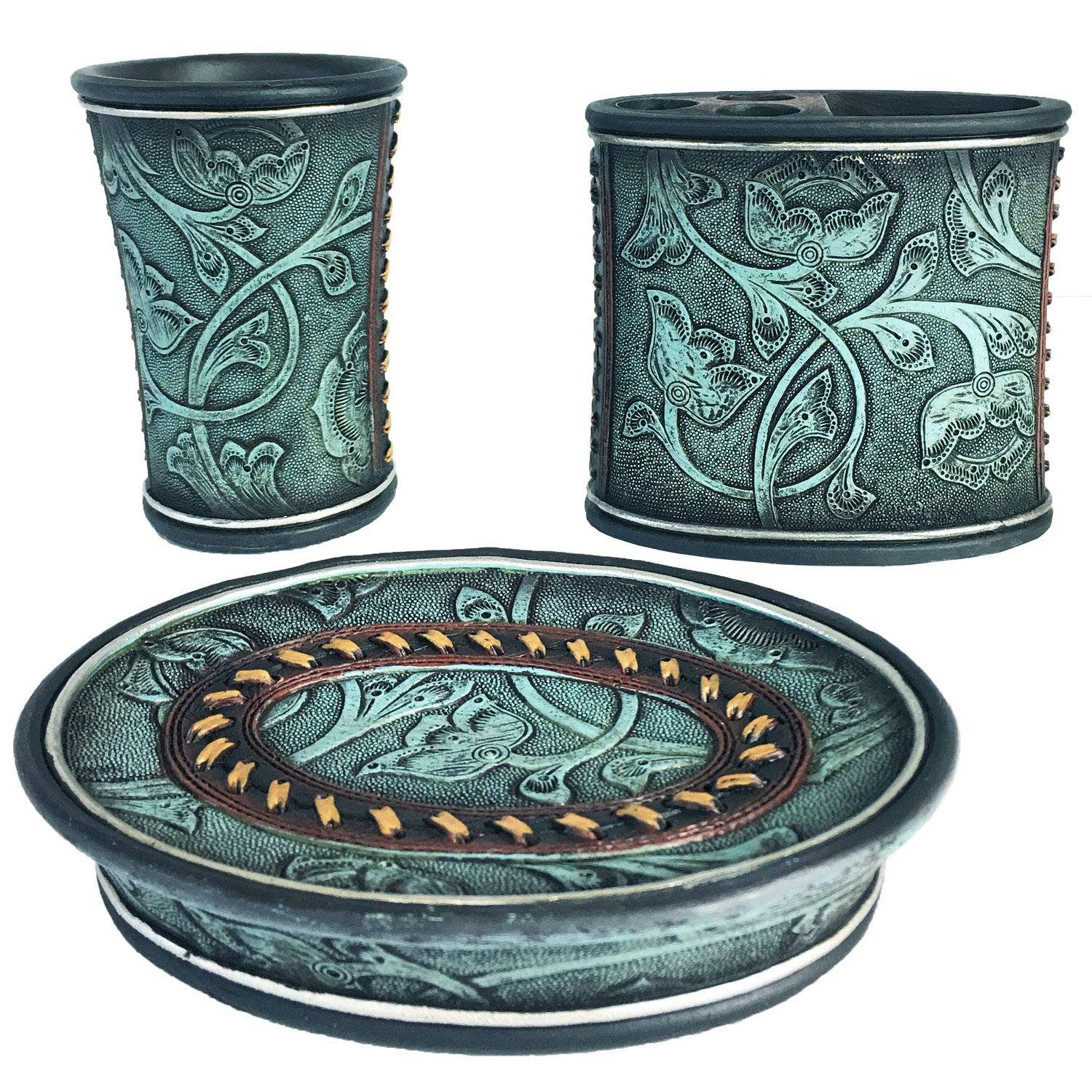 Lifestyle Banquet Teal Bathroom Accessories Decor Set | Toothbrush and Toothpaste Holder with Bathroom Soap Dish | Rustic Bathroom Decor Kit with Floral Pattern