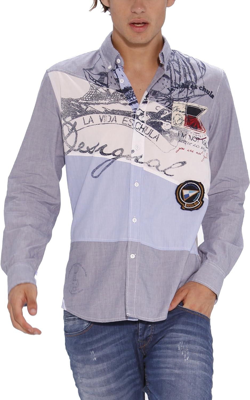 Desigual Belice Camisa, Azul (Cielo 5105), XXL para Hombre ...