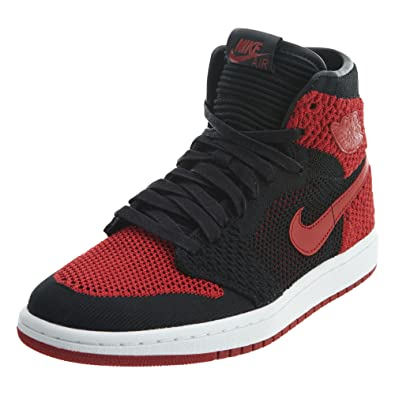 cb917982497aa1 Jordan Air 1 Retro High Flyknit Banned BG Big Kid s Shoes Black Red White