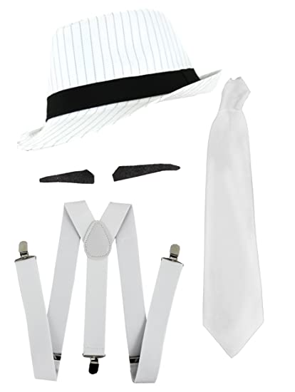 223f38a40 Ilovefancydress Men's Gangster Fancy Dress Deluxe Accessory Set Pinstripe  Trilby Hat + Tie + Braces + 6x Spiv Tash 1920's Mob Gangster Men Al Capone