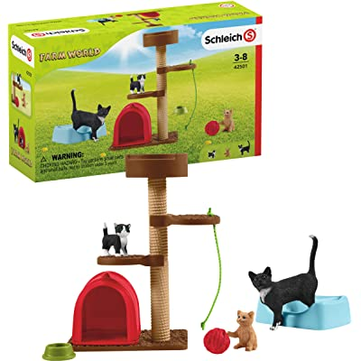 Schleich Farm World Playtime for Cute Cats 9-piece Educational Playset for Kids Ages 3-8: Toys & Games