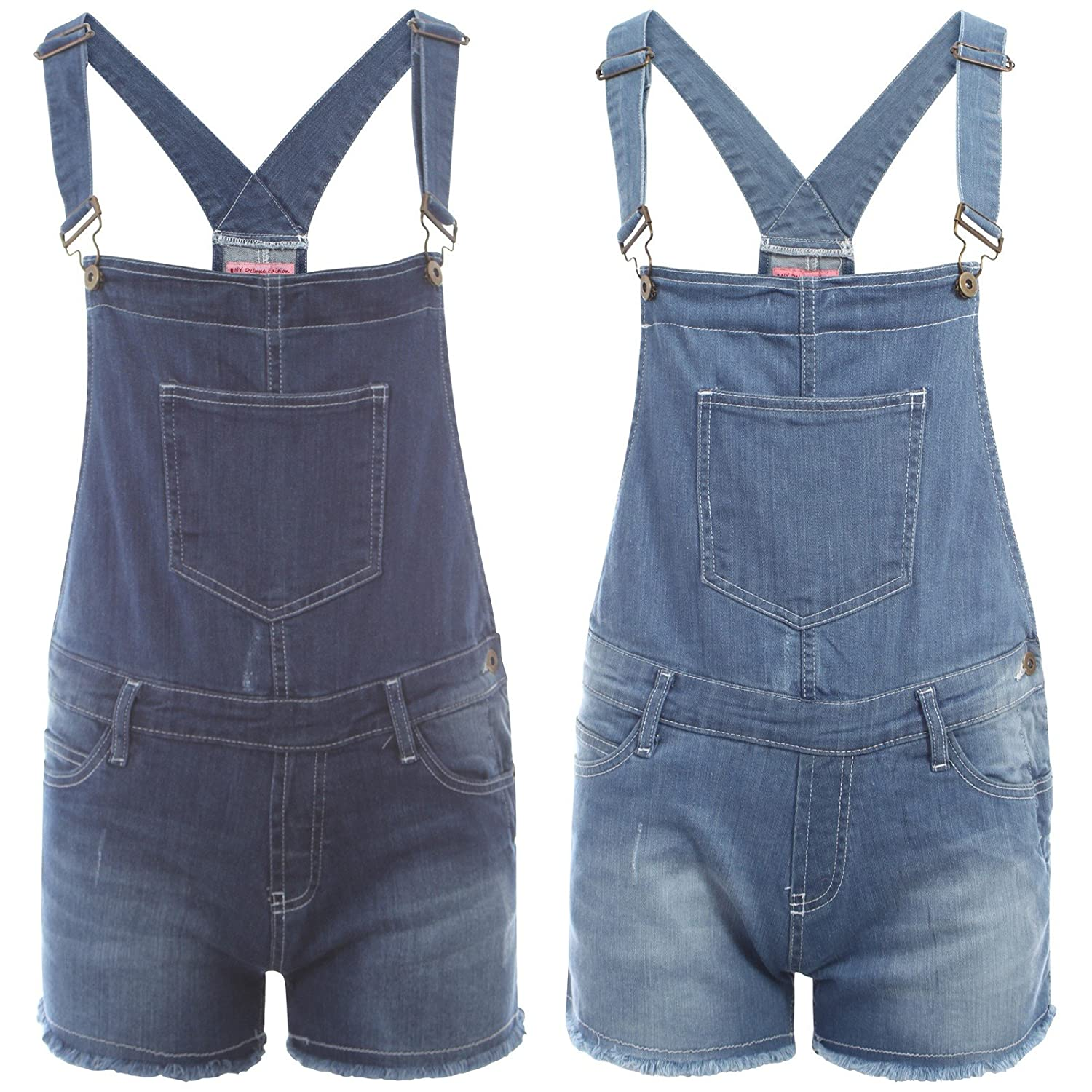 Womens Ladies Denim Dungarees Short Hot Pant Play Suit Size 8 to 16 (14,  Light Blue Denim): Amazon.co.uk: Clothing