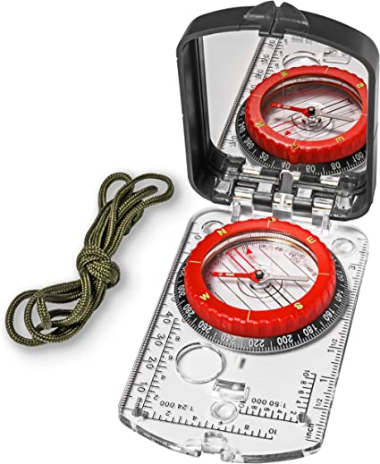 Waterproof Compass Hiking Military Map Compass Lanyard Magnifying Glass