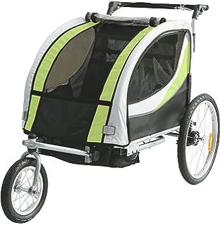 SAMAX PREMIUM Fahrradanh/änger Jogger 2in1 360/° drehbar Kinderanh/änger Kinderfahrradanh/änger Transportwagen vollgefederte Hinterachse f/ür 2 Kinder in Gr/ün//Grau Silver Frame