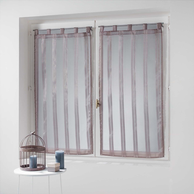 Douceur d interno coppia destra passanti Voile Righe Jacquard Bandas 90/x 60/cm Poliestere Bianco