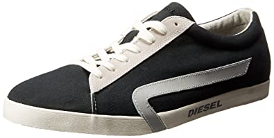 Diesel Men's Rikklub Bikkren Fashion Sneaker, Black/Pumice Stone, 7.5 M US