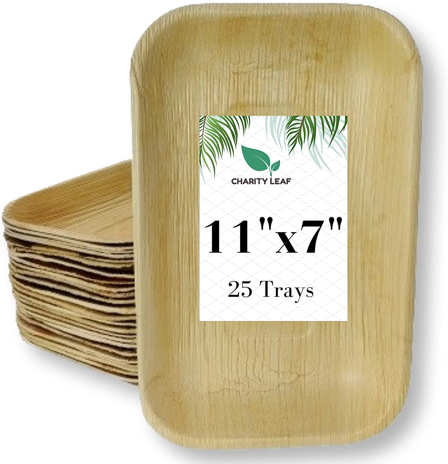 Charity Leaf Disposable Palm Leaf Bamboo Like Rectangle Serving Tray | All Natural and Biodegradable | Weddings, Charcuterie Boards, BBQs, and Parties | 11