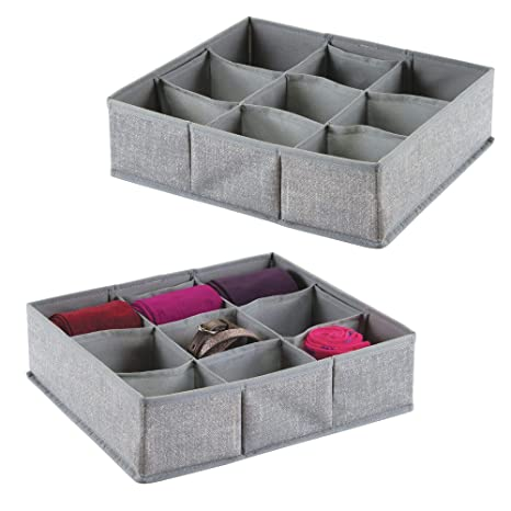 mDesign Juego de 2 cajas organizadoras de tela con 9 compartimentos – Los organizadores para cajones