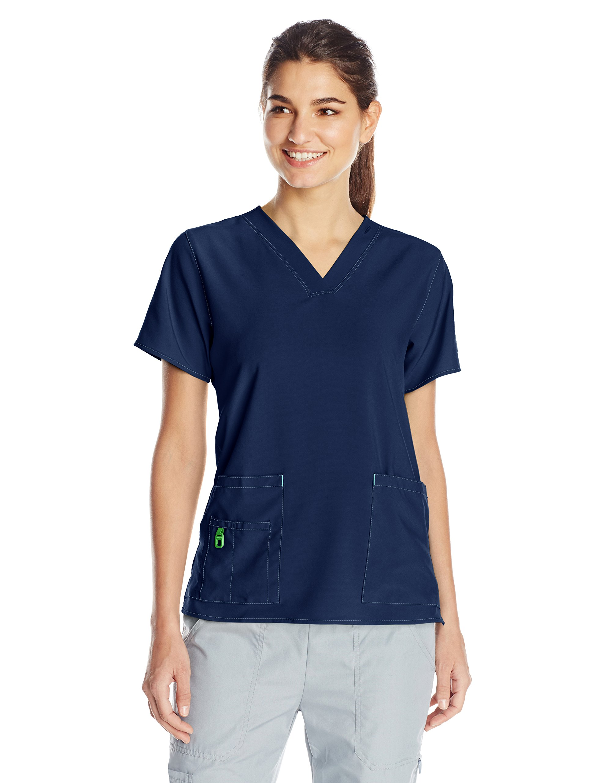 Carhartt Women's Cross-Flex Media Scrub Top, Navy, Large
