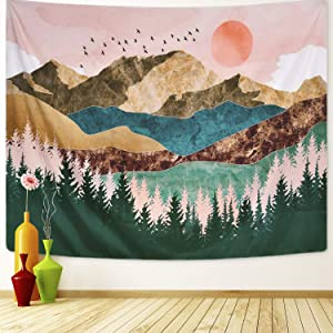 ARFBEAR Mountain Tapestry Forest Tree Popular Wall Hanging Tapestry Nature Landscape Green and Brown Beach Blanket