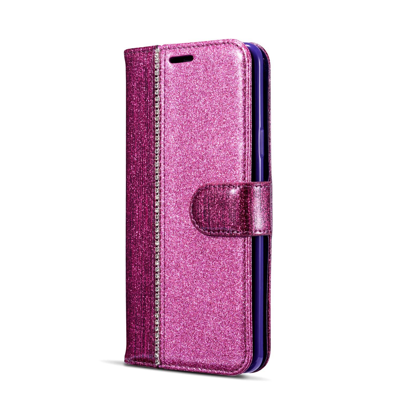 ZCXG Kompatibel mit Samsung Galaxy S9 Plus H/ülle Glitzer Rosa Gold Handyh/ülle Leder Magnet Flip Cover Schwarz Silikon H/ülle Innere Tasche D/ünn mit Kartenfach Brieftasche M/ädchen Klappbar Case