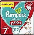 Pampers Baby droge luierbroek maat 7, 112 luierbroek, maandelijks spaarpakket, Easy-On met luchtkanalen voor maximaal 12 uur ademend droogte, 17+ kg