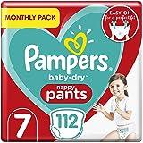 Pampers Baby droge luierbroek maat 7, 112 luierbroek, maandelijks spaarpakket, Easy-On met luchtkanalen voor maximaal 12…