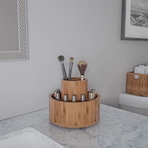 Lavish Home Rotating Organizer – Eco-Friendly Tabletop Compact Modern Natural Bamboo Carousel for Makeup, Office Supplies, Art Brushes and Crafts