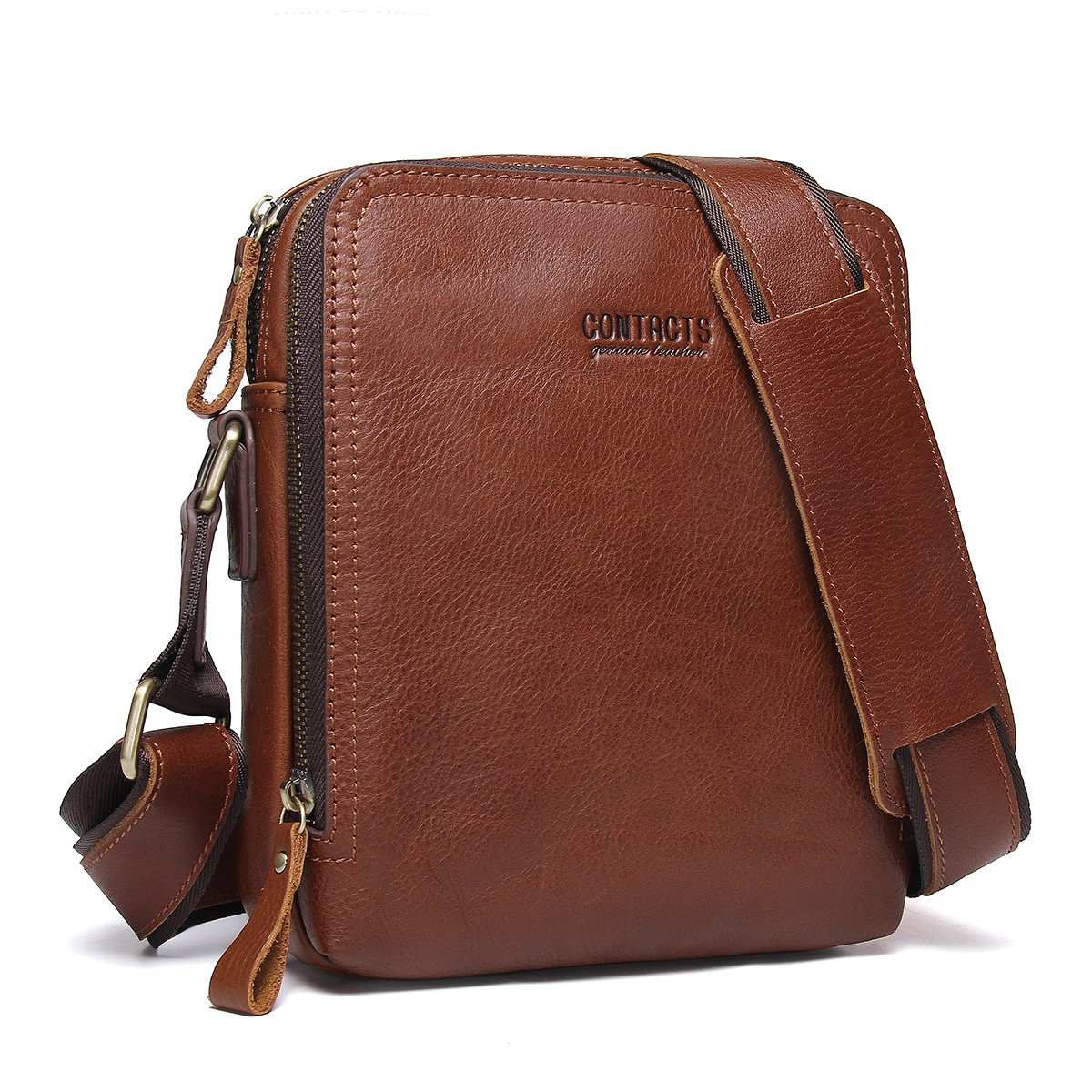 Contacts Genuine Leather Mens iPad Messenger CrossBody Bag Tab Handbag Brown