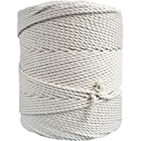 Macrame Rope 3mm 400 m (1,5 kg) - Natural Cotton Cord - 3PLY Strong Cotton String - Knitting, Crochet, Macramé - Handbag…