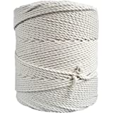 MB Cordas Macrame Cord 3mm x 400m Natural Cotton Rope for DIY Craft, Plant Hanger Cord Wall Hanger, Weaving