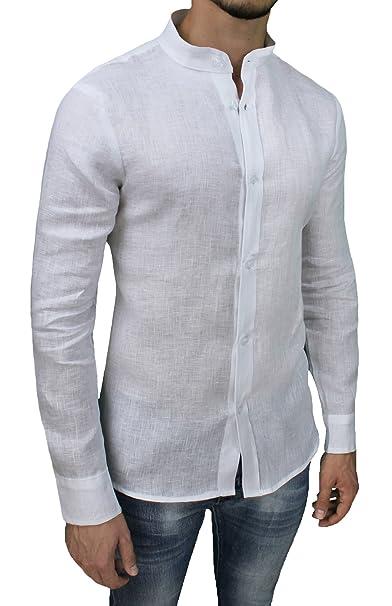 size 40 028a0 82511 Camicia Uomo Sartoriale 100% Puro Lino Bianco Casual Elegante
