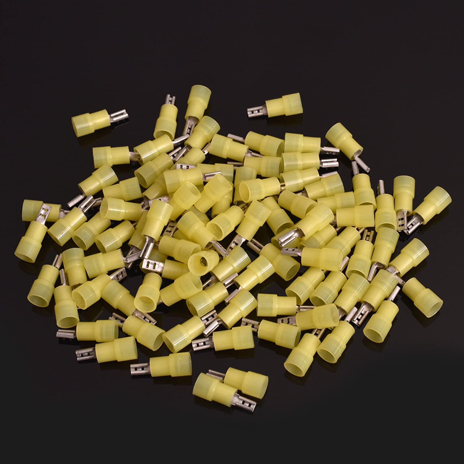 Conext Link QDNF-187Y100 Nylon Quick Disconnect Terminal Female 100 Pack 0.187, Yellow 12-10 Gauge