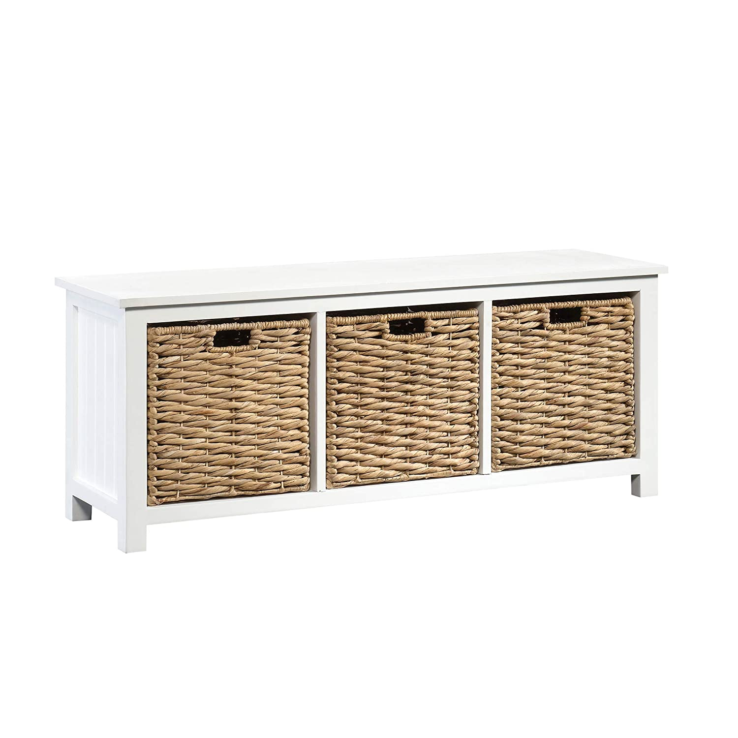 Strange Sauder 422754 Cottage Road Bench With Baskets L 43 94 X W 13 78 X H 17 72 White Finish Gmtry Best Dining Table And Chair Ideas Images Gmtryco