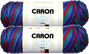 Caron Simply Soft Bulk Buy Stripes 100% Acrylic Yarn (2-Pack) ~ 5 oz. Skeins (Jersey Shore)