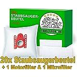 20 Staubsaugerbeutel + 2 Filter geeignet für SIEMENS VS 06 Baureihe: VS06A110, VS06A111, VS06A211, VS06A212, VS06B112A, VS06B1110, VS06B113, VS06B212, VS06B2410, VS06C110, VS06G1266, VS06G1666, VS06G1