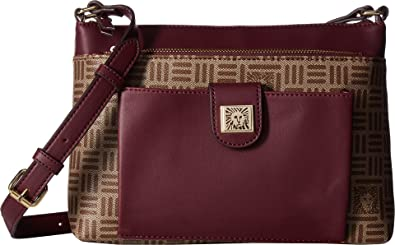 Anne Klein Women s Lion Logo Zip   Go Top Zip Crossbody Khaki Brown Oxblood  One Size  Handbags  Amazon.com b6315eec1daee