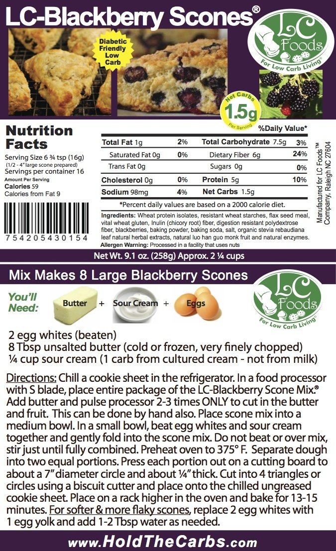 Low Carb Blackberry Scone Mix - LC Foods - All Natural - No Sugar - Diabetic Friendly - 9.1 oz