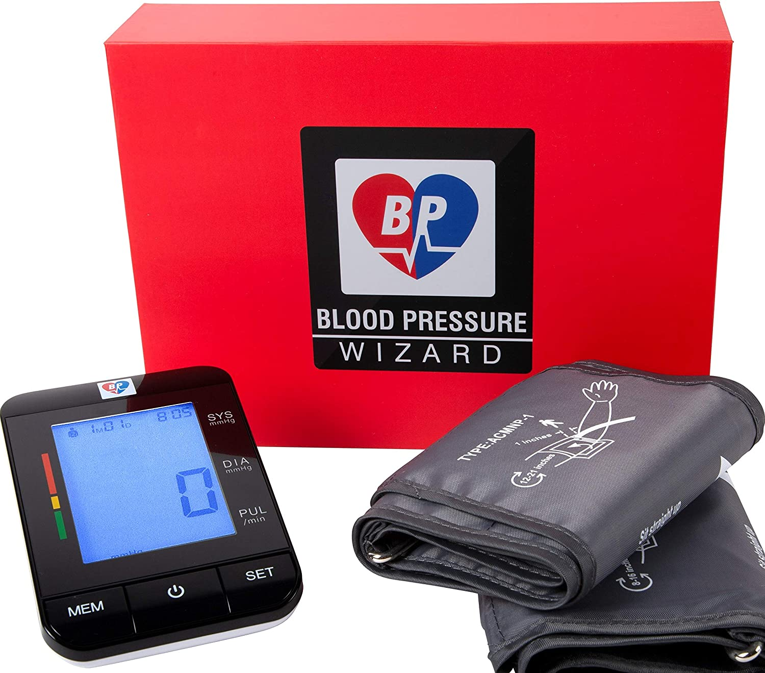 2 Size Cuffs. Standard 8 -16 Extra Large Cuff 9 -21 Automatic Blood Pressure Monitor Blood Pressure Machine. BP Wizard BP Machine. Most Accurate BP Monitor. Largest Cuff Available.