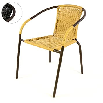 4 X Chaises Bistrot Poly Rotin Beige Empilable Amazon Fr Jardin