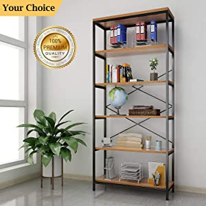 shaofu 5-Tier Industrial Style Bookshelf and Bookcase, Vintage 5-Shelf Industrial Bookshelf Furniture (US Stock)