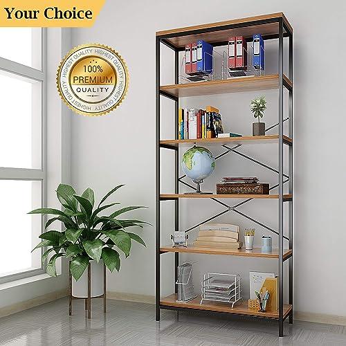 shaofu 5-Tier Industrial Style Bookshelf and Bookcase, Vintage 5-Shelf Industrial Bookshelf Furniture US Stock