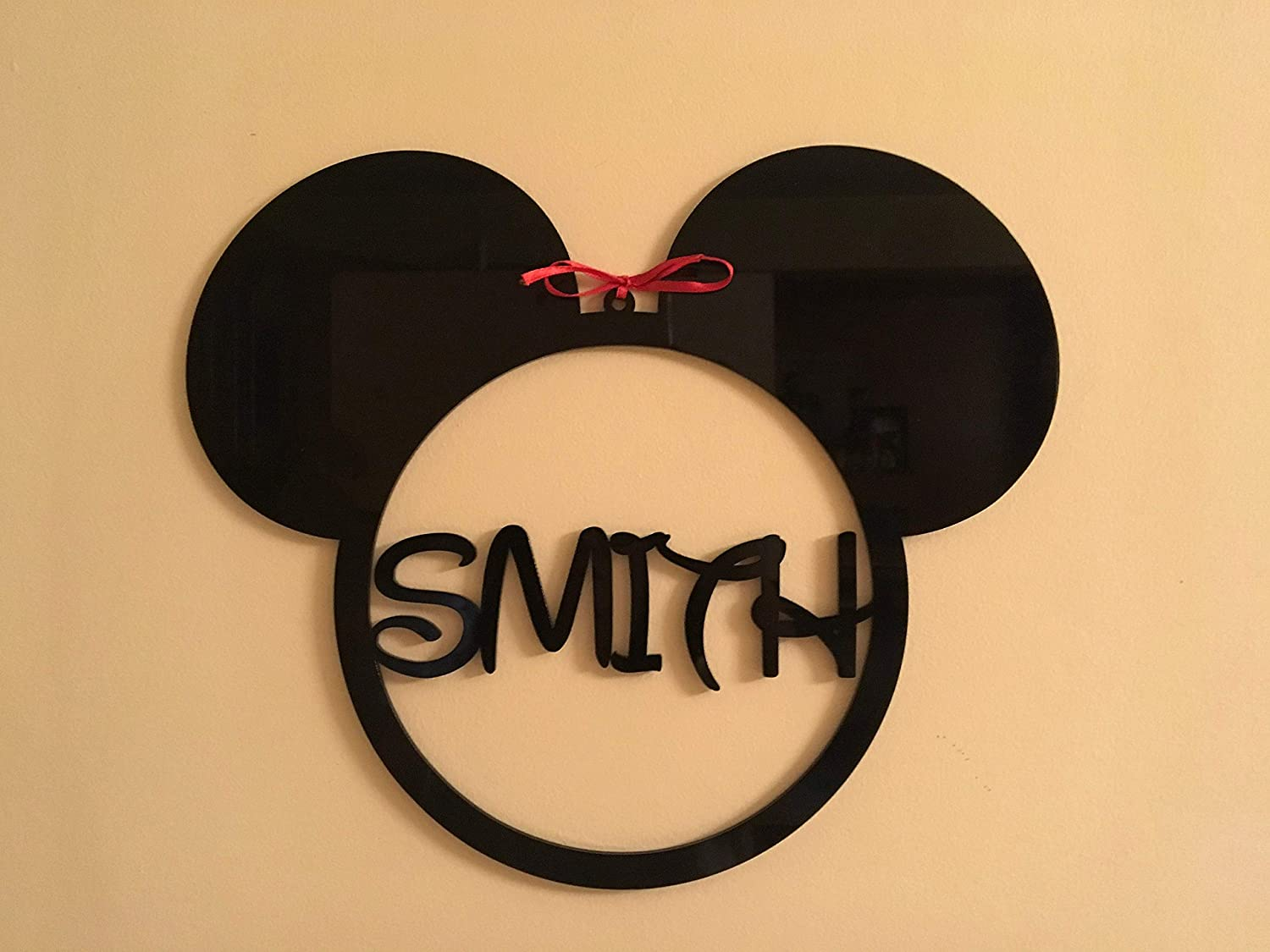 Mickey Mouse Head Monogram Personalized Any Name Sign Acrylic Hanging Decorations Minnie Mouse Ears Metal Ornament Disney Shape Nursery Wall Art Gifts Kids Bedroom Custom House Decor Birthday Present