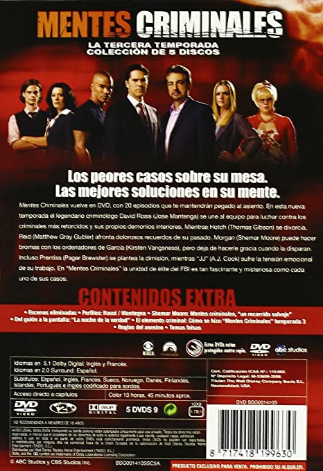 Mentes Criminales Temporada 3 Spanien Import Amazon De Mandy Patinkin Kirsten Vangsness Thomas Gibson Shemar Moore Matthew Gray Gubler Guy Norman Bee Gloria Muzio Dvd Blu Ray