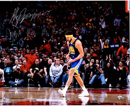 Klay Thompson Golden State Warriors Autographed 16 quot  x 20 quot   Celebration Photograph with NBA REC d72a15a9a