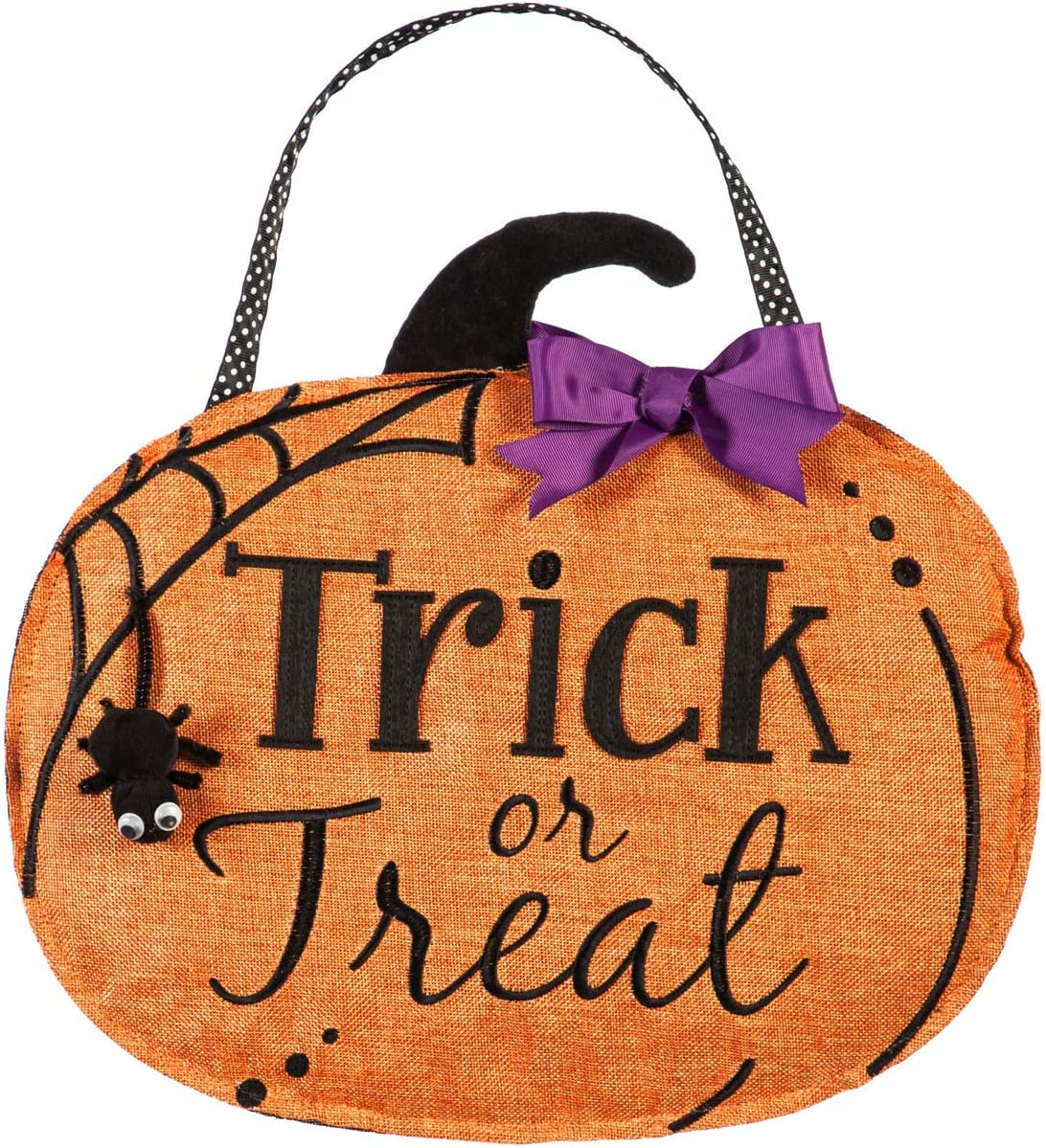 Evergreen Flag Beautiful Reversible Double Sided Trick Or Treat Hanging Door Décor - 18 x 1 x 16 Inches Fade and Weather Resistant Outdoor Decoration for Homes, Yards and Gardens
