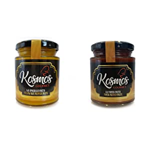 Kosmos Gourmet Aji Amarillo Paste and Aji Panca Paste Peruvian Food Yellow Spice and Panca Chili Pepper Sauce Mild Spicy - 2 PACK - 7.50 oz. each