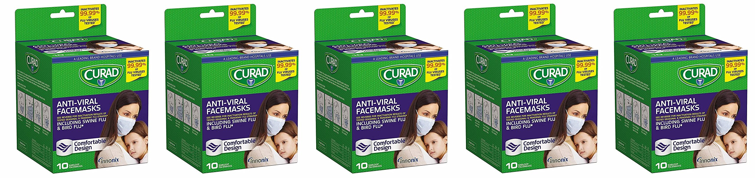 Curad Antiviral XpwKgy Face Mask, 10 Count (Pack of 5)