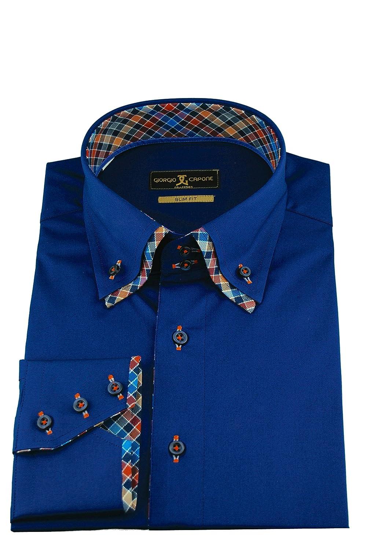 Giorgio Capone Herrenhemd, Blau, Doppelkragen Karo-Muster Elementen, Langarm,  Slim/Normal & Regular-Plus Fit: Amazon.de: Bekleidung