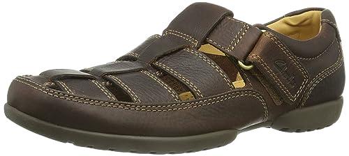 Recline Open 20348485 - Sandalias de cuero para hombre, color marrón, talla 41 Clarks