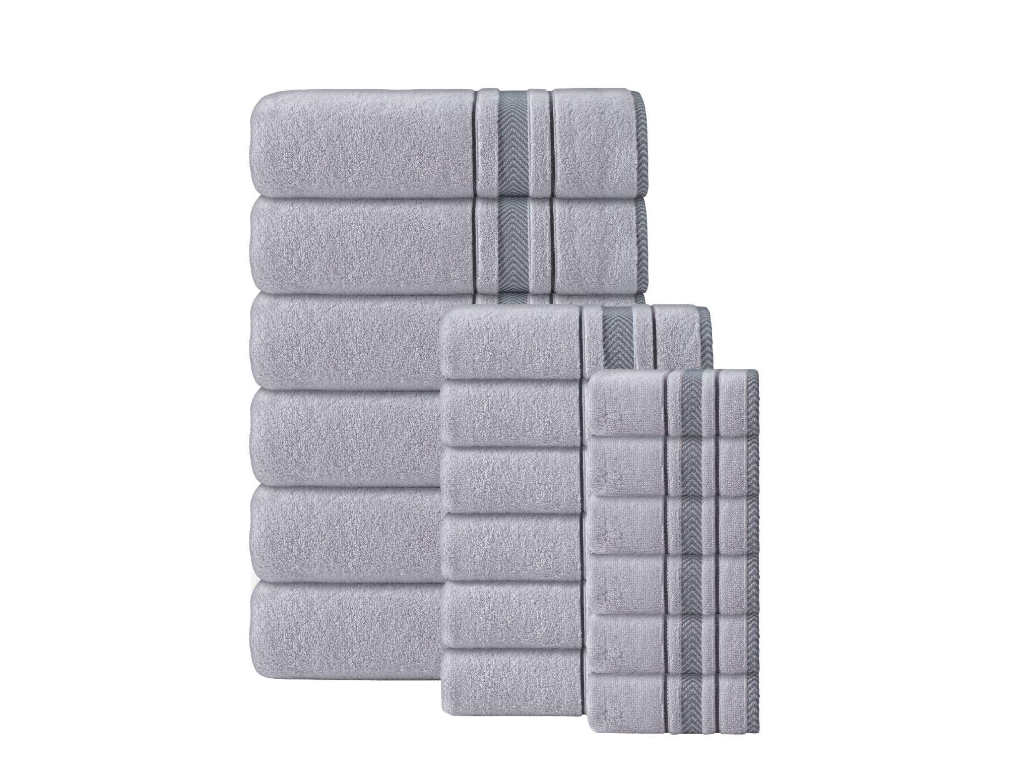 Enchante Home - Enchasoft Turkish Towels - 16 Piece Towel Set, Zero-Twist Turkish Towel - Quick Dry, Soft, Absorbent