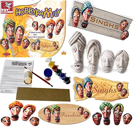 Ceramic Indian Family Plaque Painting Craft Kit Gift Ideas