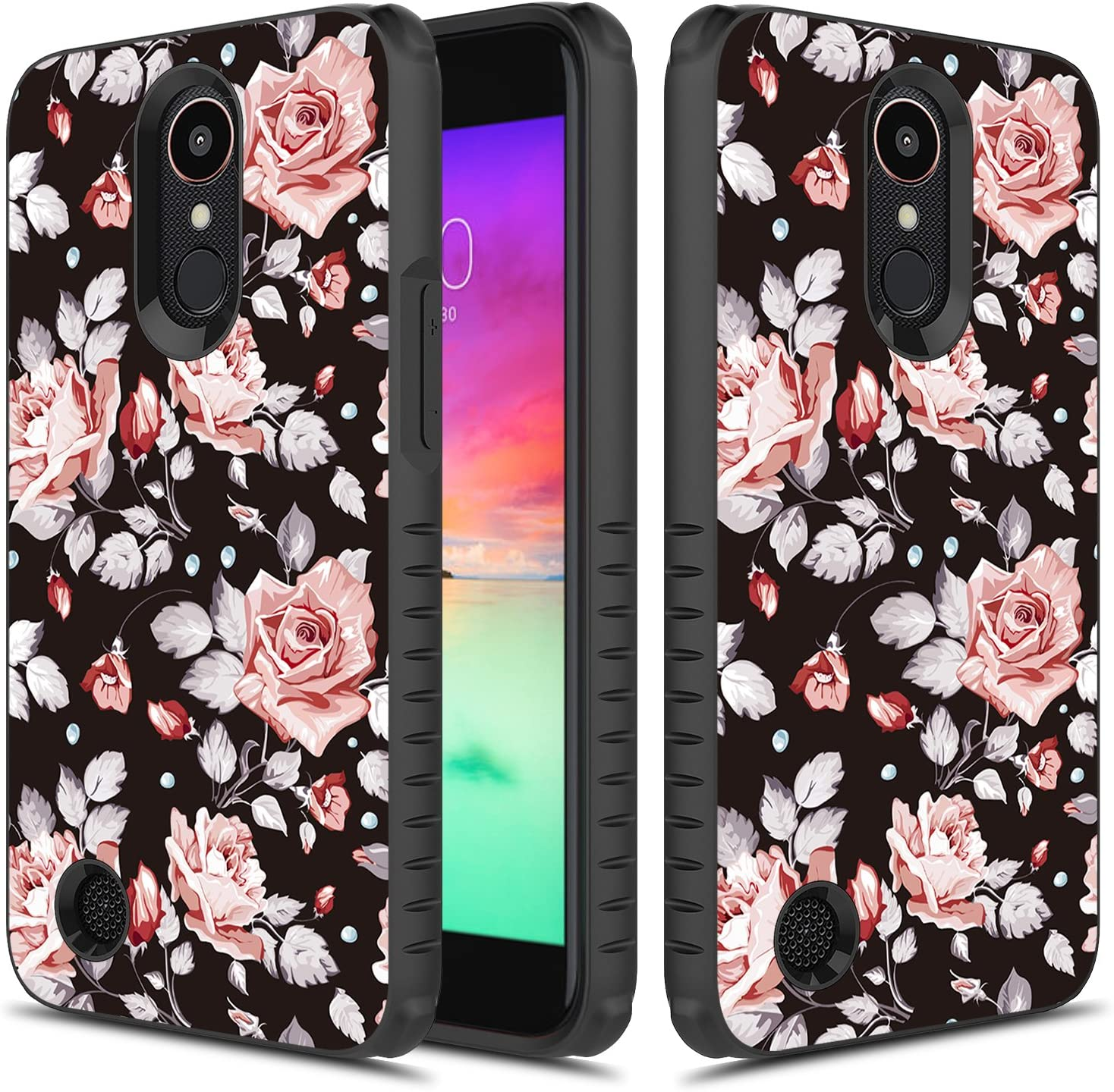 LG K20 Plus Case, TownShop Heavy Duty Dual Layer Shockproof Bumper Case for LG LV5/ LG K20 Plus/LG K10 (2017) - Pink Rose